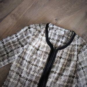 Metallic Blazer Zip Front Plaid Wear to Work 14 XL